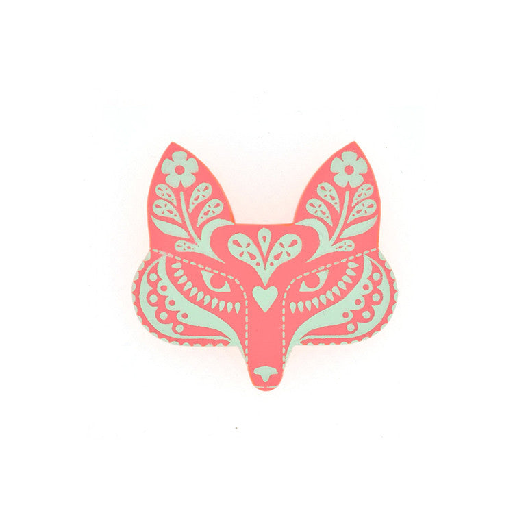 FOLK FOX BROOCH RASPBERRY