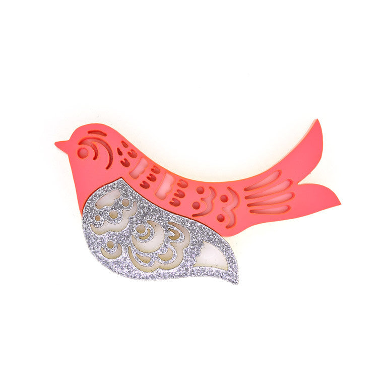 HOHLOMA BIRD BROOCH RASPBERRY