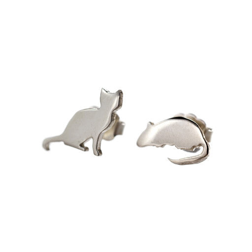 sterling silver cat & mouse stud earrings