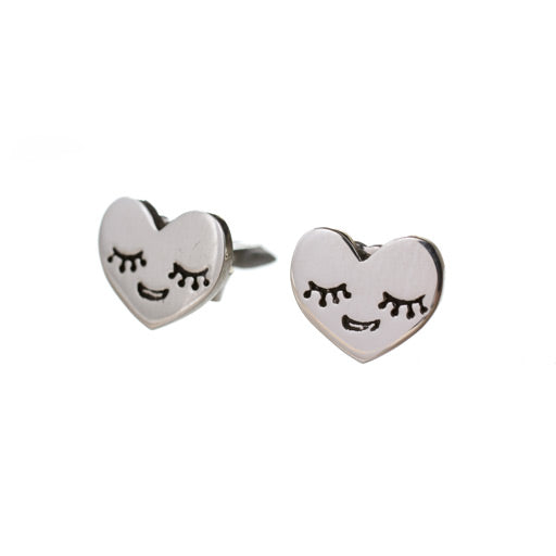 sterling silver heart bud stud earrings