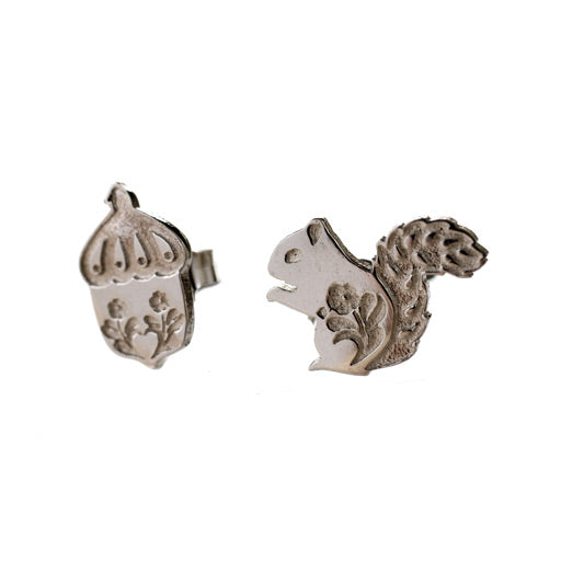 sterling silver squirrel & acorn stud earrings