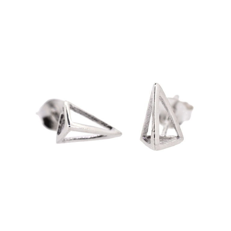 TETRAHEDRON STUDS SILVER