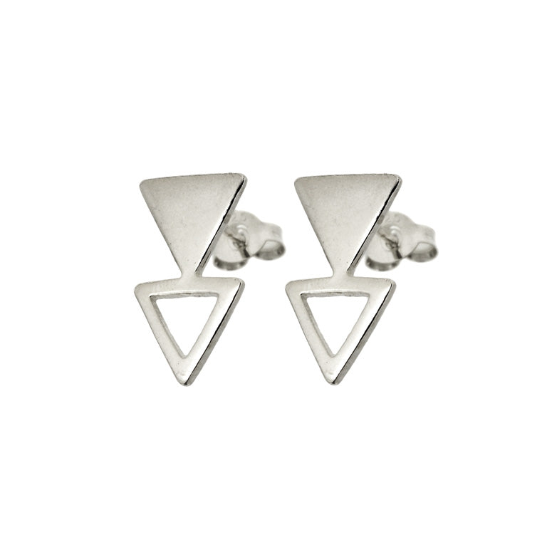 STACKED TRIANGLE STUD EARRINGS