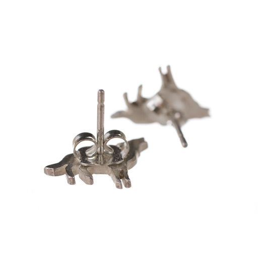 sterling silver wolf stud earrings