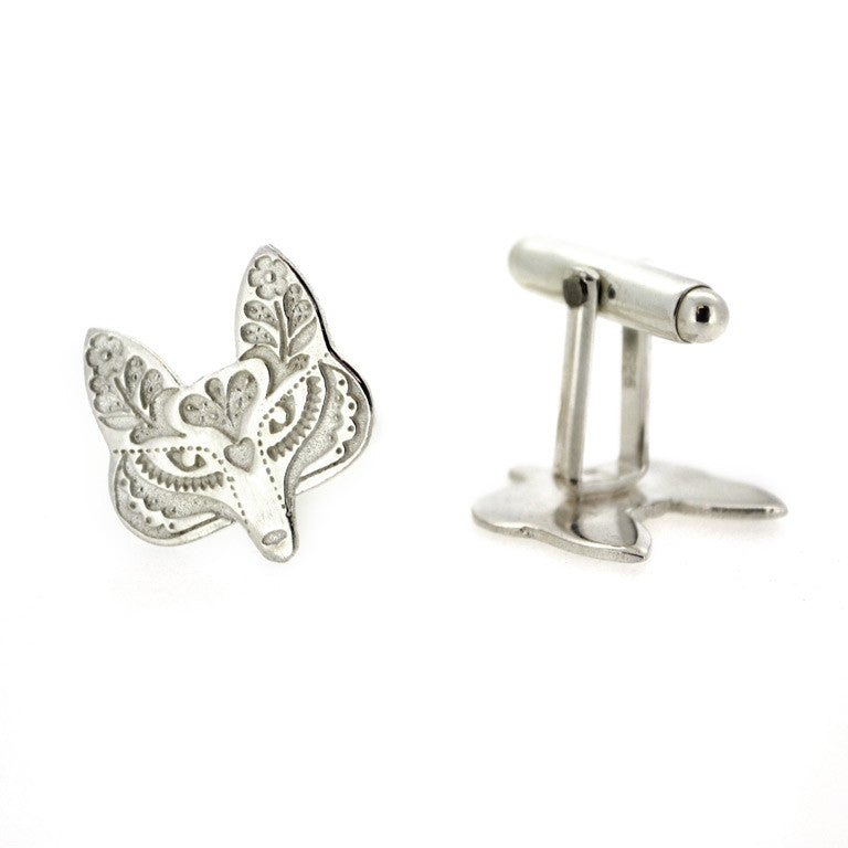 STERLING SILVER FOLK FOX CUFFLINKS SIDE