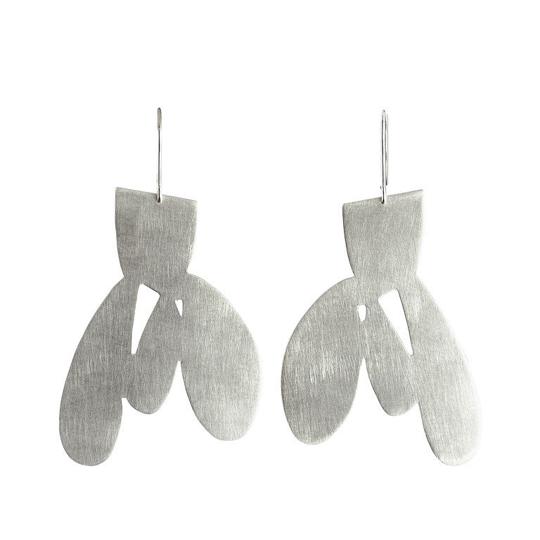 cactus 01 earrings brushed silver