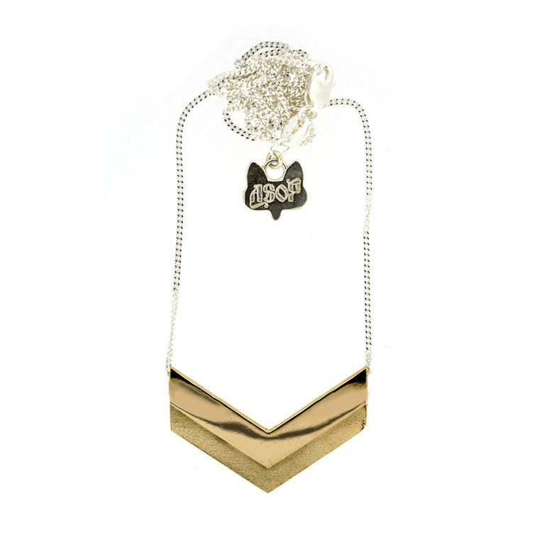Bar Necklace - Chevron Bronze