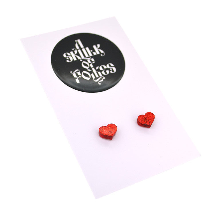 GLITTER STUDS HEART - 4 COLOURS TO CHOOSE FROM!