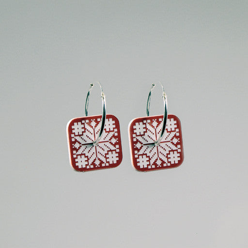ACRYLIC HOOPS - FOLK SQUARE RED