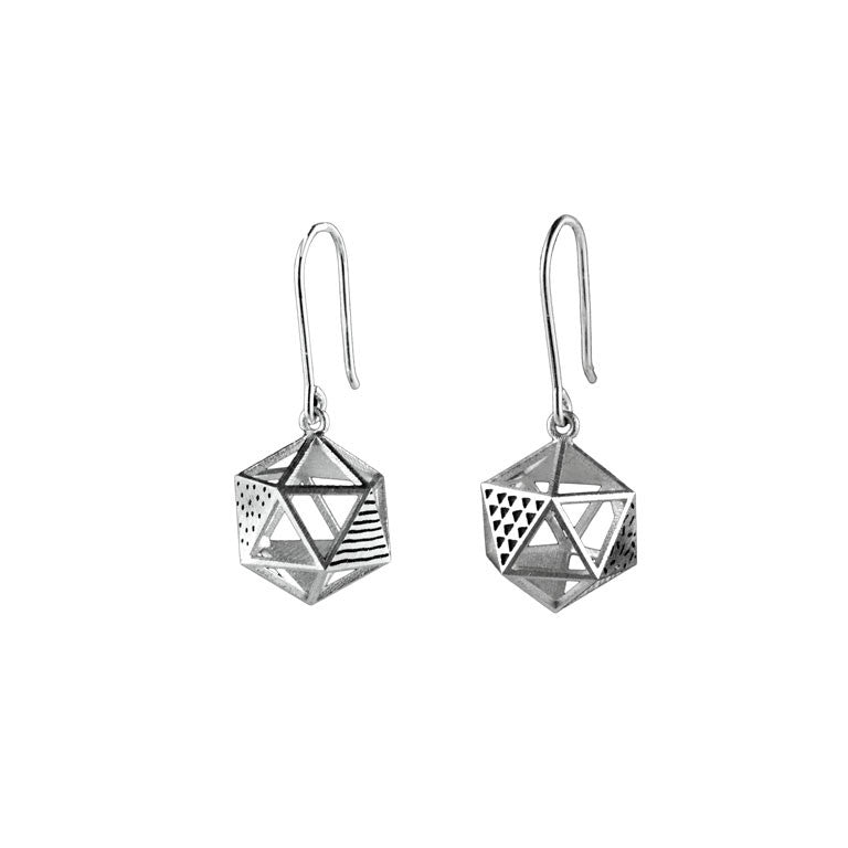 Patterned Platonic Icosahedron Earrings