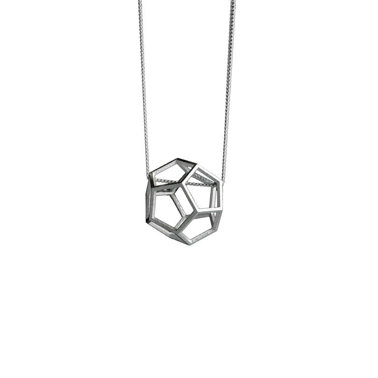 STERLING SILVER DODECAHEDRON NECKLACE
