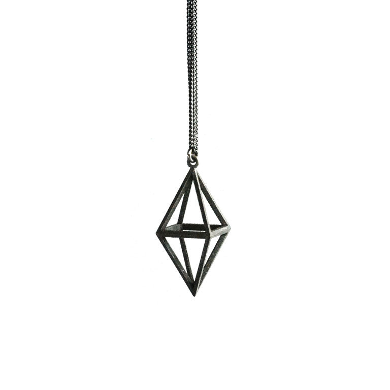 OCTAHEDRON NECKLACE OXIDISED