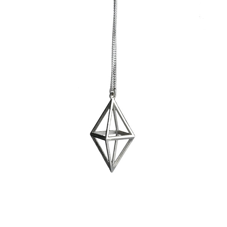 STERLING SILVER OCTAHEDRON NECKLACE