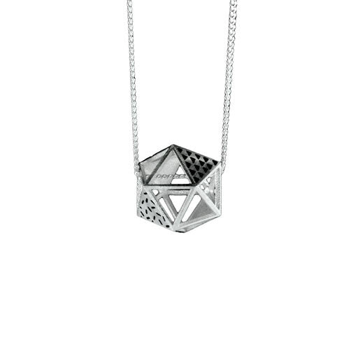 Patterned Single Platonic Icosahedron Necklace