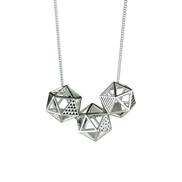 Patterned Platonic Icosahedron Necklace