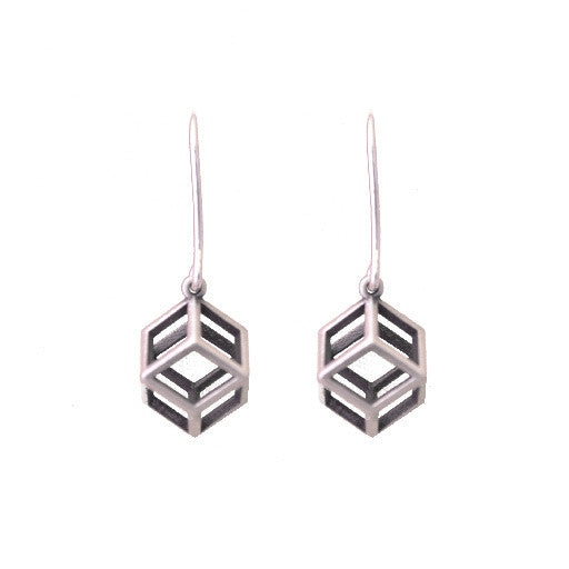 polyhedra rhombic cube earrings SILVER