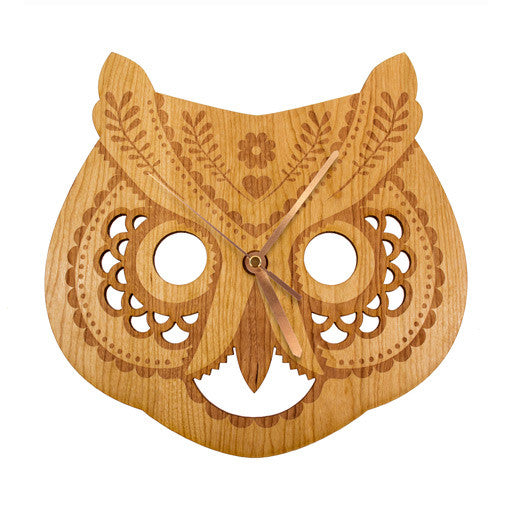 Folk Owl Clock