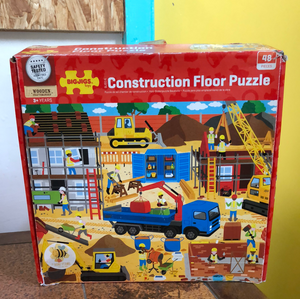 Toy Library NOT FOR SALE - BigJigs wooden 48 piece construction floor puzzle