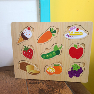 Toy Library NOT FOR SALE - wooden food pull-out shapes puzzle