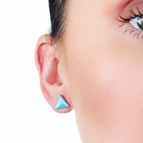 Triangle studs: small, glossy or matte