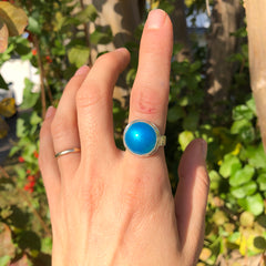 Enamel Gemstone Cocktail Ring: fine silver