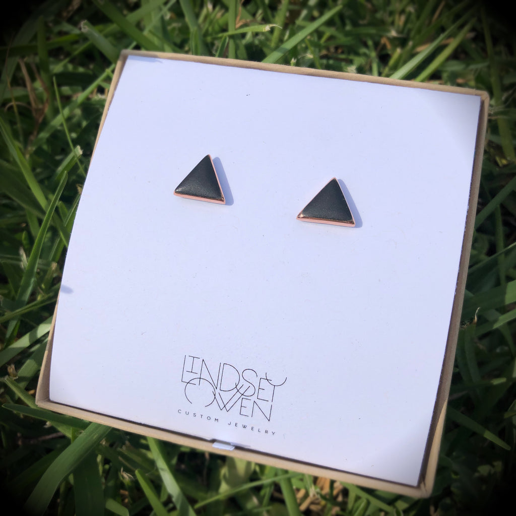 Triangle studs: large, glossy or matte