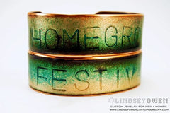 Stamped or engraved enamel cuff