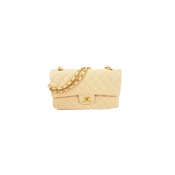 Auth Chanel Matelasse W Flap W Chain Women's Leather Shoulder Bag Beige - www.luxurydesignerscollections.com
