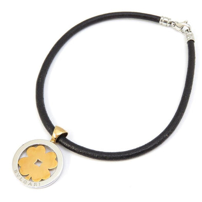 Bvlgari Tondo Clover Necklace Women's Choker K18YG Yellow Gold Stainless Leather
