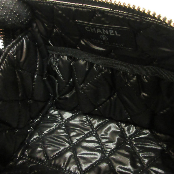 Chanel Pouch Black Camellia Flower Motif Ladies Nylon