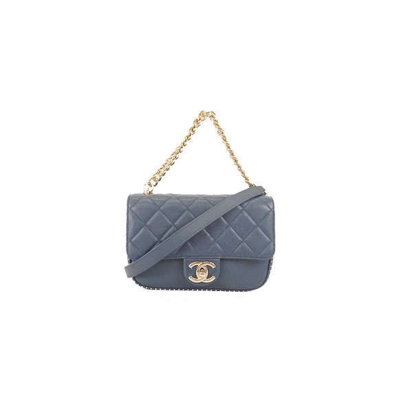Auth Chanel Women's Leather Shoulder Bag Navy - www.luxurydesignerscollections.com