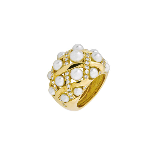 Chanel Baroque Collection Baby Pearl Diamond Ring K18 Yellow Gold Ladies