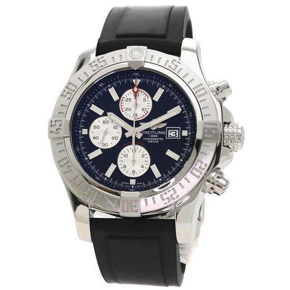 Breitling A13371 Super Avenger 2 Watch Stainless Steel Rubber Men