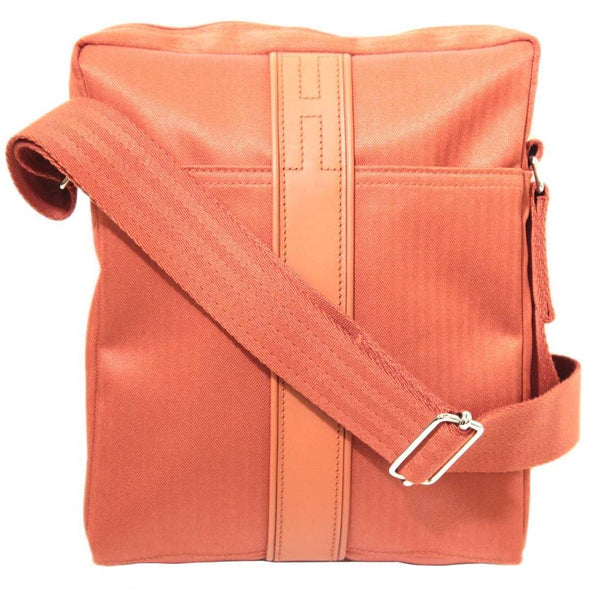 HERMES Hermes Acapulco Bandolier MM Shoulder Bag Toile Chevron Leather