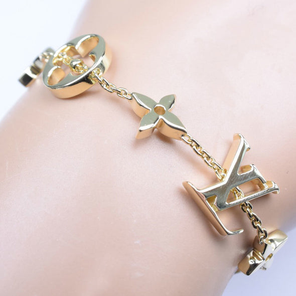 LOUIS VUITTON Louis Vuitton Brasserie Monogram Q95018 K18 Yellow Gold Ladies Bracelet