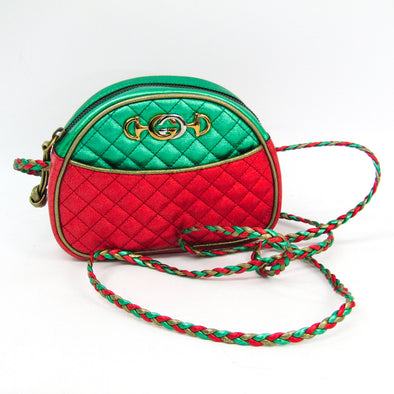 Gucci Laminate Quilting 534951 Women's Leather Shoulder Bag Gold,Green,Red Color