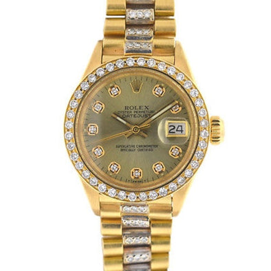 Rolex - Rolex 6917 18k Yellow Gold Ladies President Diamond Watch
