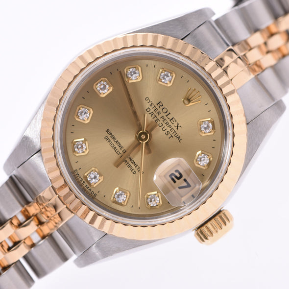 ROLEX Rolex Datejust 10P Diamond 69173G Ladies YG SS Watch Automatic winding Champagne dial