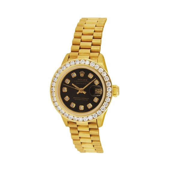 Rolex - Rolex Oyster Perpetual Datejust Gold Aftermarket Diamond Bezel Watch 69178
