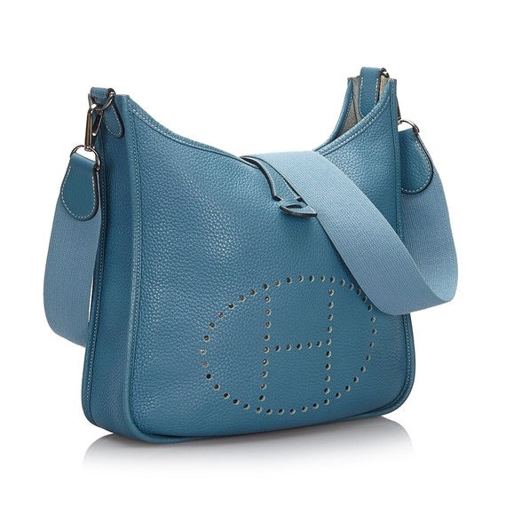 Hermes - Vintage Authentic Hermes Blue Leather Togo Evelyne 1 Mm France W/ Dust Bag - Luxury Designers Collections