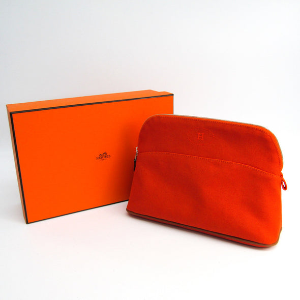 Hermes Bolide MM Women's Cotton,Leather Pouch Orange