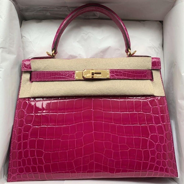 Hermès Kelly 28 Rose Sheherazade Sellier Crocodile Niloticus Lisse Gold Hardware GHW