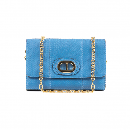 DEE FIRENZE PYTHON CLUTCH PB03 CLUTCH SMALL PITONE SAPPHIRE - Luxury Designers Collections
