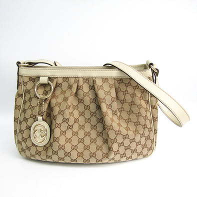 Gucci Sukey 296834 GG Canvas,Leather Shoulder Bag Beige,Brown,Ivory