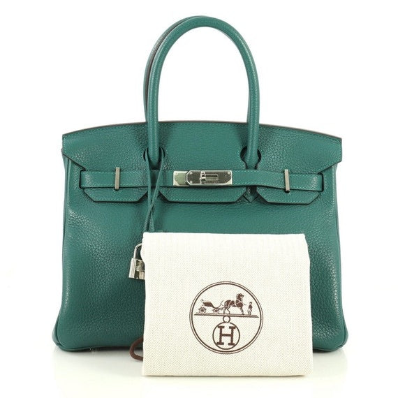 Hermes - Birkin Handbag Malachite Clemence with Palladium Hardware 30