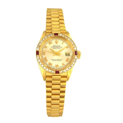 Rolex - Yellow Gold Oyster Perpetual Datejust Diamond Bezel Watch 69178