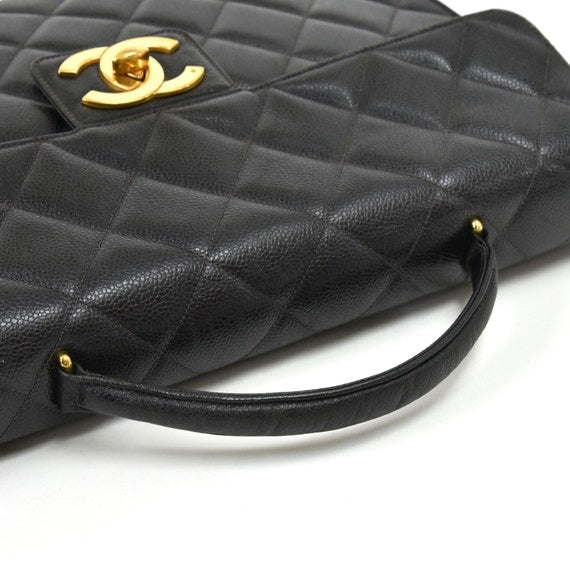 Chanel - Vintage Chanel Black Caviar Quilted Leather Briefcase