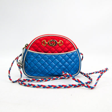 Gucci Laminate Quilting 534951 Women's Leather Shoulder Bag Blue,Red Color,Silver
