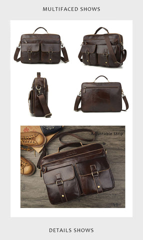 all angles of a leather briefcase showed