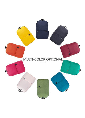 a small backpack in ten different colors
